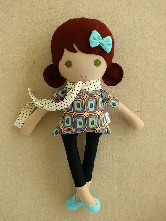 Fabric Doll Rag Doll Brown Haired Girl in Brown and Teal and Black Geometric Print Dress with Scarf