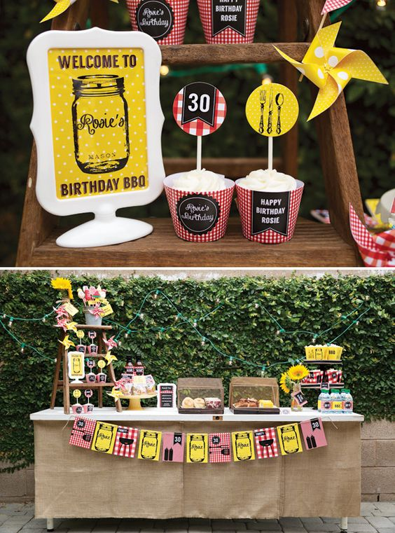 Rustic Backyard 30th Birthday Barbecue Summer Grilling