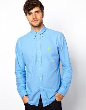 Polo Ralph Lauren Shirt In Lightweight Blue Oxford In Custom Fit