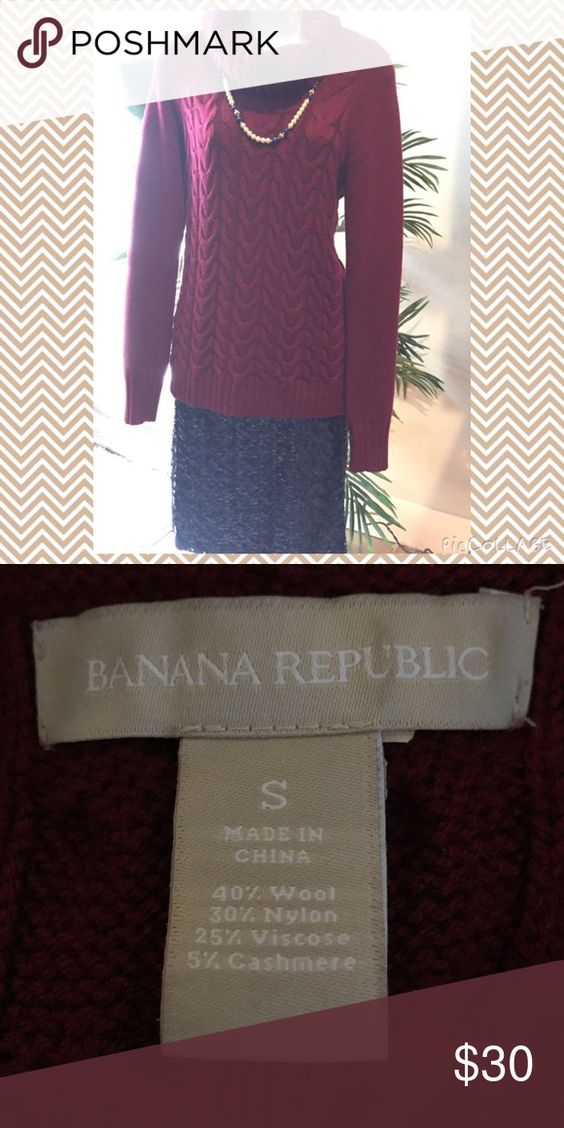 Banana Republic Holiday Sweater Thick Burgundy Red Sweater perfect for the Holidays! It has a extra loose material around the collar for added warmth, not tight like turtlenecks tend to be. Fabulous condition! Banana Republic Sweaters Crew & Scoop Necks