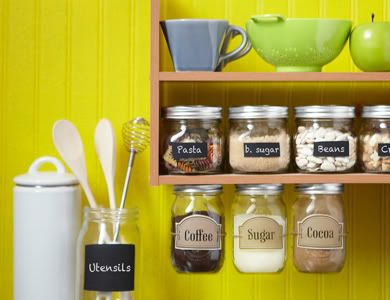 Mason jar kitchen organization. Way cool.