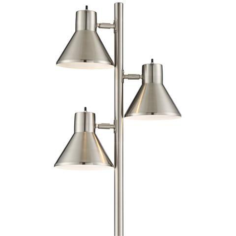 Luken Brushed Nickel Adjustable 3 Light Tree Floor Lamp 9m692 Lamps Plus Metal Floor Lamps Tree Floor Lamp Lamp