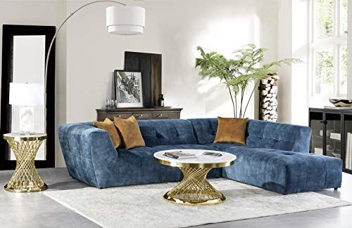 Acanva Collection Luxury Mid Century Tufted Low Back Right Facing Sectional Sofa L Shape Couch Navy Blue Velvet Living Room Sectional Sofa L Shaped Couch