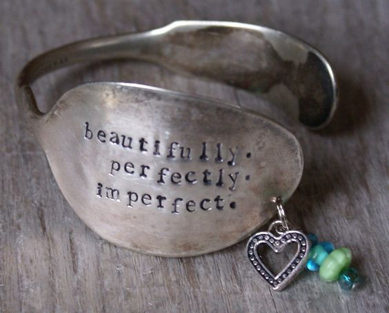 Hand Stamped Spoon Cuff Bracelet by BlissfulHeartStudio on Etsy, $22.00