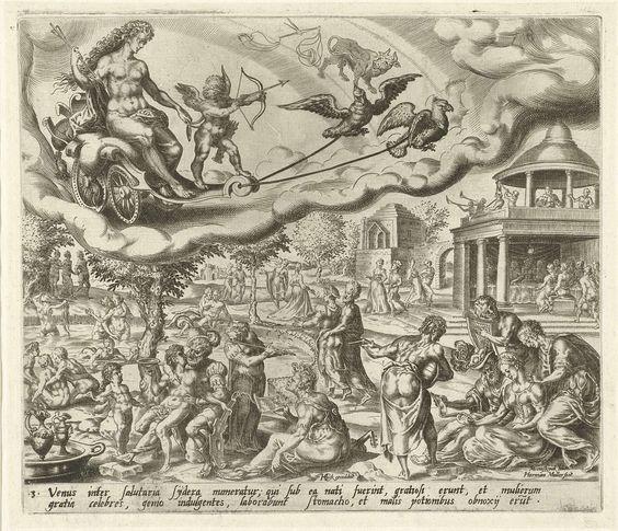 De planeet Venus en haar kinderen, Harmen Jansz Muller, Hieronymus Cock, 1566 - 1570