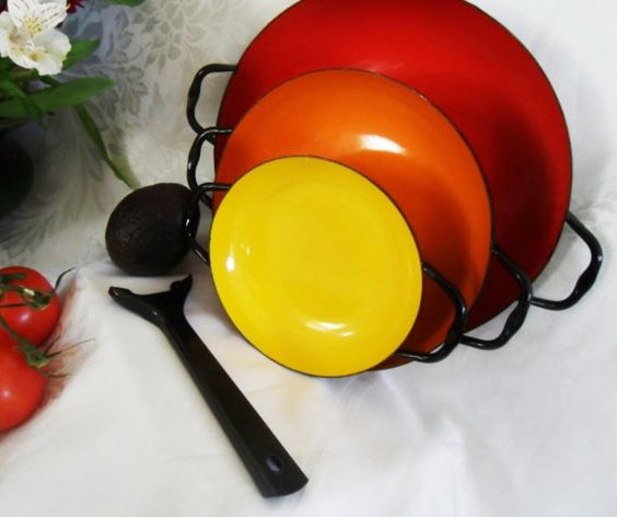 Bright Enamelware Paella Pans with Handle Poland by owlsongvintage, $73.50