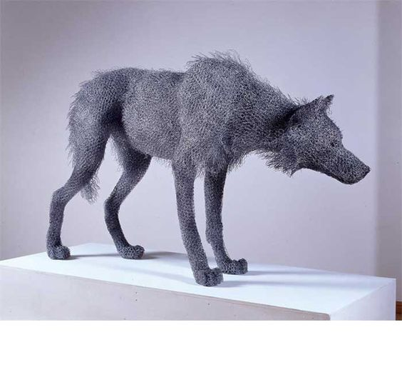 "--Kendra Haste--  ""Timber Wolf"" (2002)  Painted galvanised wire - unique  41(h) x 65(l) x16(w) in / 104(h) x 165(l) x 41(w) cm"