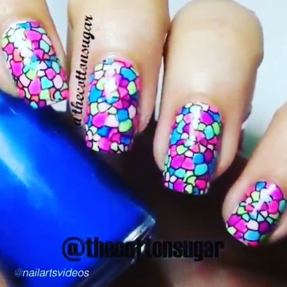 Nail DIY tutorial. By @thecottonsugar Mosaic Nail Art Tutorial. Products I've used-productos utilizados: Base coat, MoYou London Stamping Plate PRO Collection XL 06, Essence stampy polish black, multicolor polishes of your choice-esmaltes multicolor de vuestra elección, Essie Good To Go toa coat. Music:  Avicii - Addicted to you at Nail Art Video PRESS ▶  #nailideas #nail #nailart #nailpolish #nailhowto #nailtutorial #nailartdesign #pretty #tutorial #tutorials #instructions #instruction…