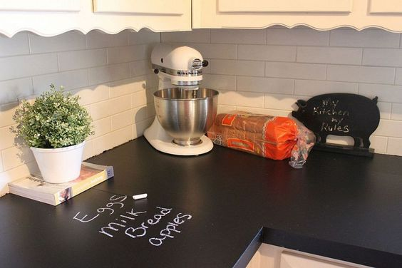 Why didn't we think of that? Painting counters with chalkboard paint!