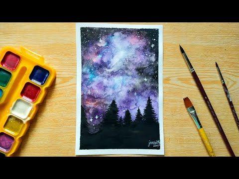 Painting Galaxy Using Watercolor Watercolor Watercolorpainting
