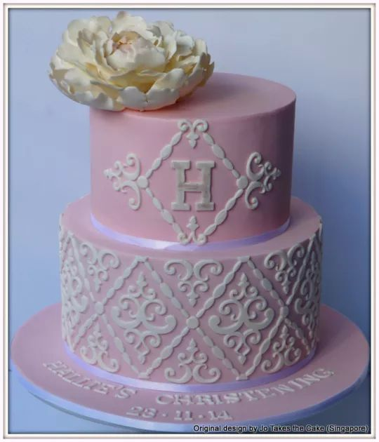 A lovely pink cake by Jo Takes the Cake made with our Filigree Damask Silicone Onlay