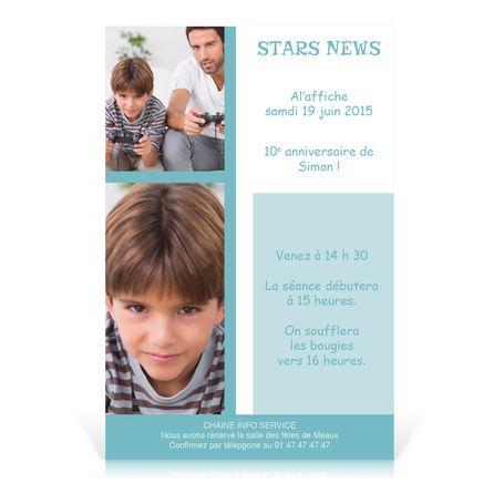 invitation anniversaire star news pour enfant 6 10 ans cardissime personnaliser avec texte. Black Bedroom Furniture Sets. Home Design Ideas