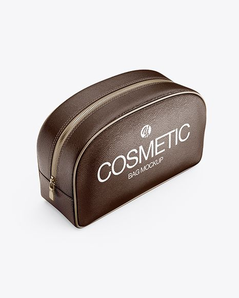 Download Leather Cosmetic Bag Half Side View High Angle Shot In Apparel Mockups On Yellow Images Object Mockups Leather Cosmetic Bag Bag Mockup Design Mockup Free