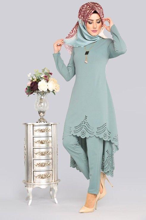 Modaselvim 59 Tl Lazer Kesim Kolyeli Kombin Pl810 S Mint Vestidos Camisetas Evangelicas Roupas Arabes