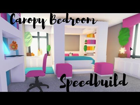 Canopy Bed With Custom Blanket Bedroom Speedbuild Roblox Adopt Me Youtube Cute Room Ideas Customized Blankets Cute Bedroom Ideas
