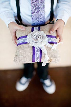 purple + burlap ring bearer pillow | Nancy Ray