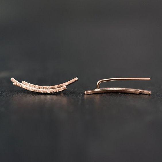 Gold ear cuff earrings gift for women minimalist by emmanuelaGR