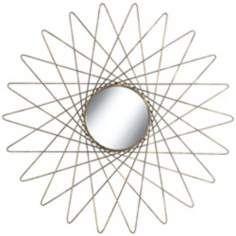 """Starburst Bronze And Gray 26"""" Round Wire Mirrored Wall Art"""