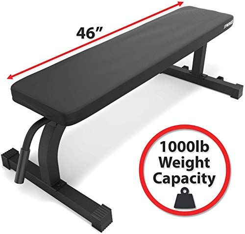 Chic Synergee Flat Bench Workout Bench I Perfect For Pressing Exercises I Weight Bench For Dumbbell Barbell Press Bench Workout Weight Benches Barbell Press