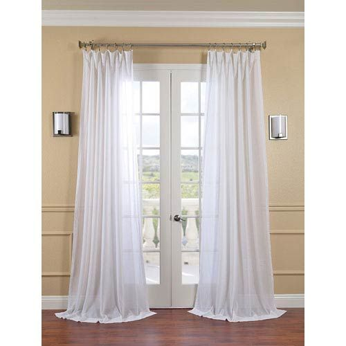 Half Price Drapes White Orchid Faux Linen Sheer Single Panel