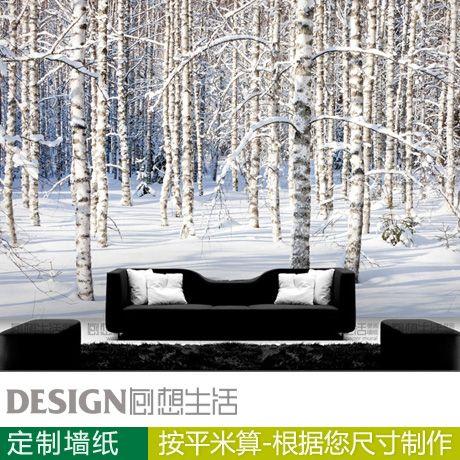 Bouleau arbre 3d papier peint moderne canapé tv fond mur papier photo peintures murales(China (Mainland))