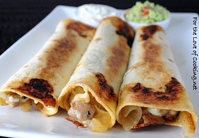 Great way to use up leftover pork tenderloin & yum-yummy» Pork Tenderloin, Caramelized Onion, and Monterey Jack Baked Flautas