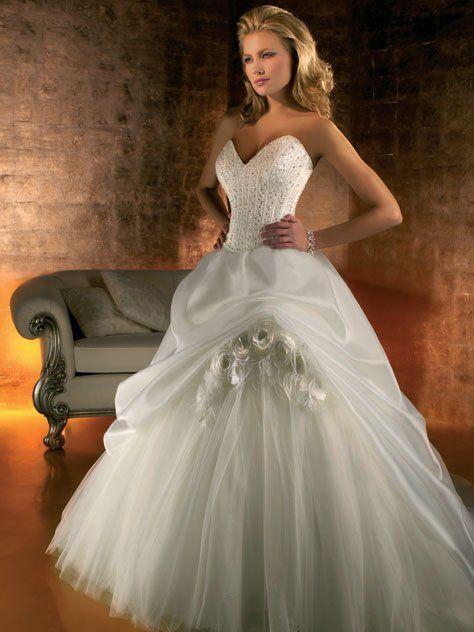 Corsetted Sweetheart Gown With Full Tulle Skirt And Pickup