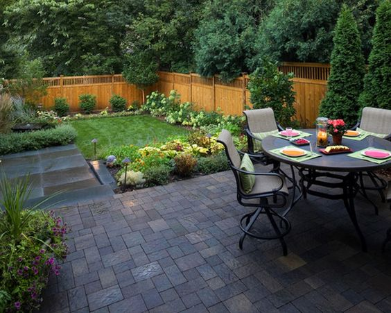 Small Backyard Design Ideas On A Budget cheap landscaping ideas for small backyards garden design ideas landscaping plans headlining custom gray cement build outdoor patio with fire pit above Cool Small Backyard Ideas In Eco Friendly Exterior Design At Home Cool Small Backyard Ideas Best