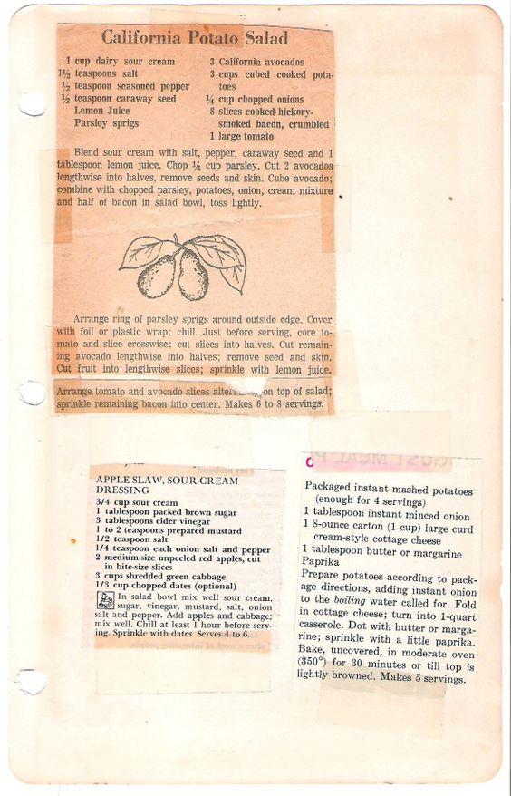 A scan of the original california potato salad recipe from Mom's cookbook