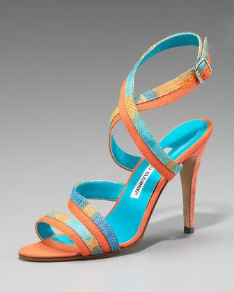 Peculiamo Colorblock Lizard Sandal by Manolo Blahnik at Neiman Marcus.