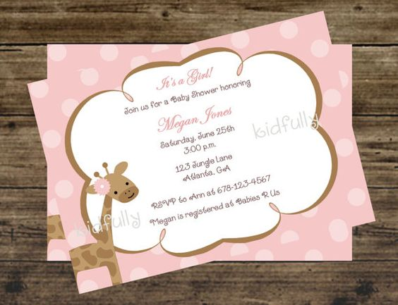 Girl Giraffe Invitation