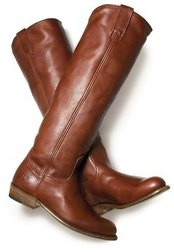 classic brown riding boots - would pair these with white based floral jeans and chambray top
