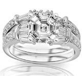 2.33 Carat Asscher Cut / Shape GIA Certified 14K White Gold Baguette And Round Brilliant Diamond Engagement