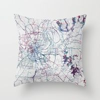 Throw Pillows featuring Nashville by MapMapMaps.Watercolors