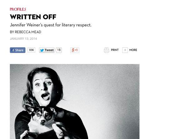 Jennifer Weiner's Curious Definition of Literary Sisterhood