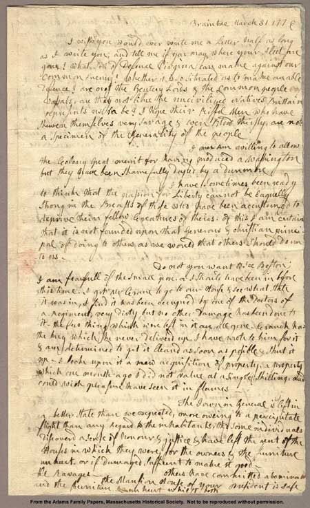Abigail Adams powerful letter to husband John Adams dated March