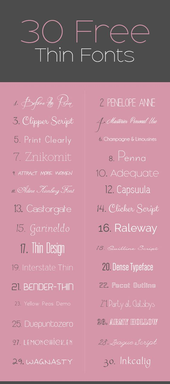 30 Free Thin Fonts >> Design Float ~~ {w/ easy download ...