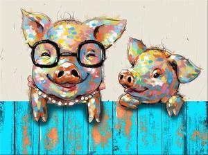 Happy Piggies Oil Painting