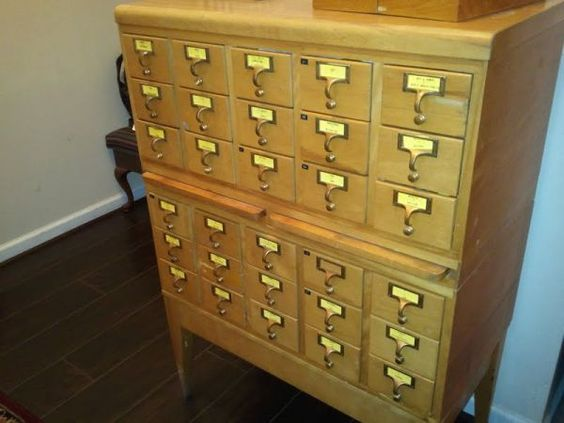 High school card catalog with original drawer labels