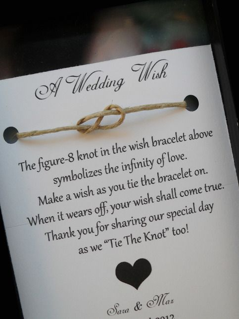 A Wedding Wish bracelet. Such a cute favor..