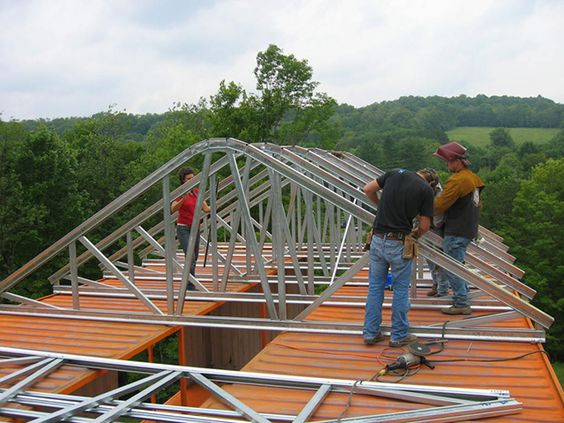 Metal Roof Truss Shipping Container Ideas Pinterest
