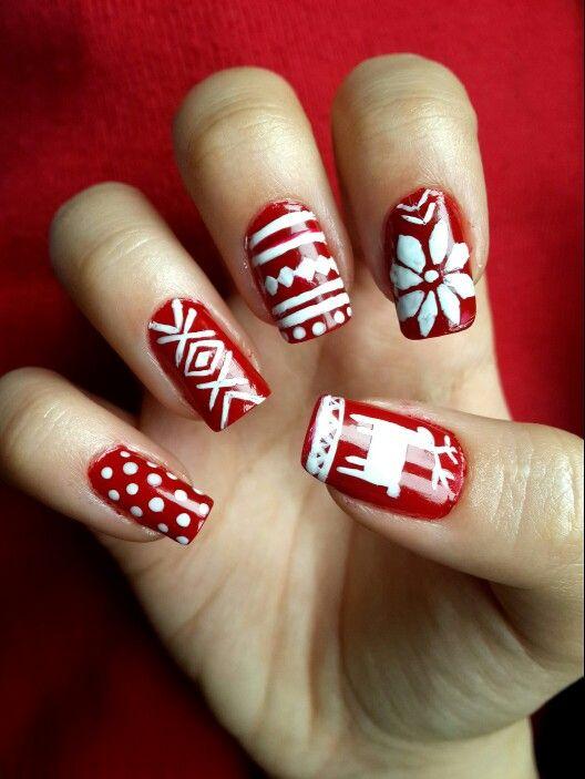 Christmas nail art  # yılbaşı #icin #tirnaklar #kış #kar #geyik: