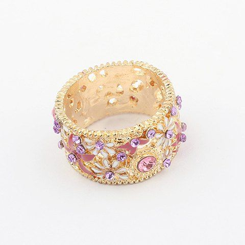 Delicate Gorgeous Rhinestoned Flower Pattern Decorated Women's Alloy Ring, GOLD, ONE SIZE in Rings | DressLily.com