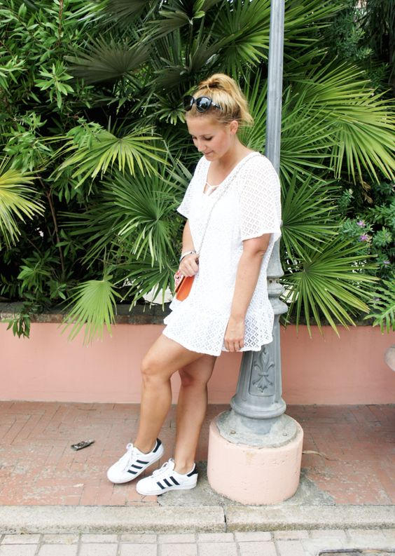 outfit street style white lace blouse dress