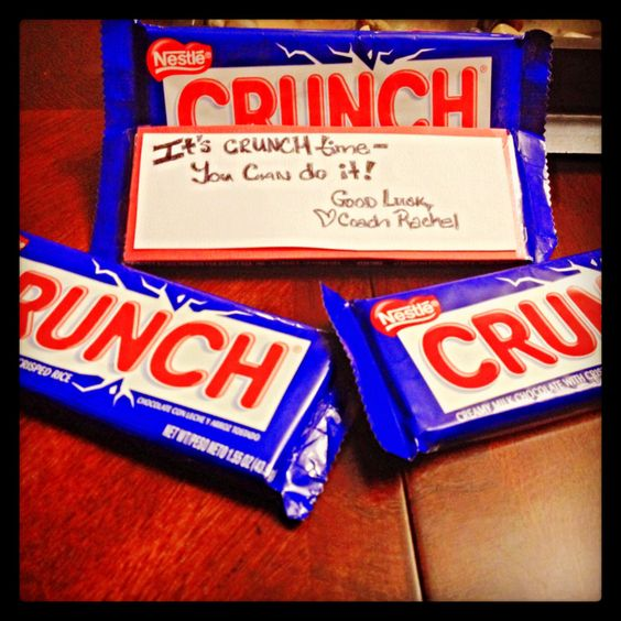 """... bar with a note that says, """"It's CRUNCH time! You CAN do it! Good Luck"""