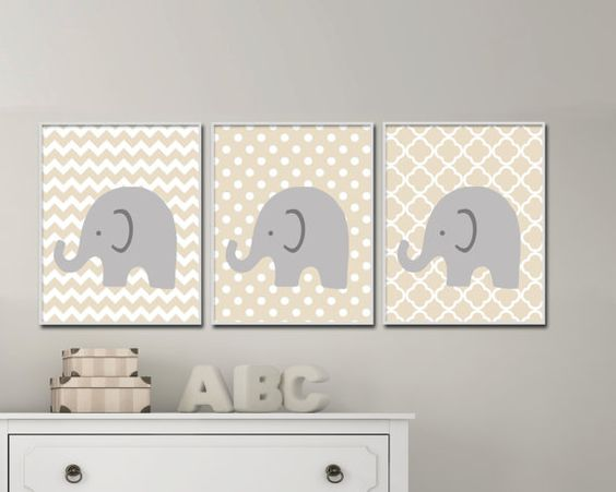 Elephant Nursery Art. Gender Neutral Nursery Art. Baby Girl or Boy Nursery Art. Suits Beige Nursery Decor - S-151  This listing is for 3 art prints only - frame not included.  These prints are professionally printed on high quality heavyweight matte paper with archival inks. Please be aware that colour variations may occur due to the differences in computer monitors.  IF YOU WOULD LIKE TO CUSTOMIZE YOUR PRINTS: When checking out, please leave a message in the  Note to Seller section. If you…