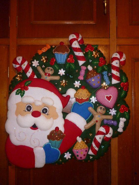 589 CORONA DE SANTA CON PASTELES Navidad fieltro Pinterest Corona - cosas de navidad