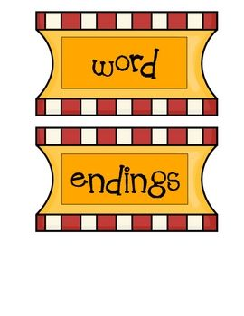 This printable set includes 26 word endings. My idea: Cut slits in the front to make sliders for word families.