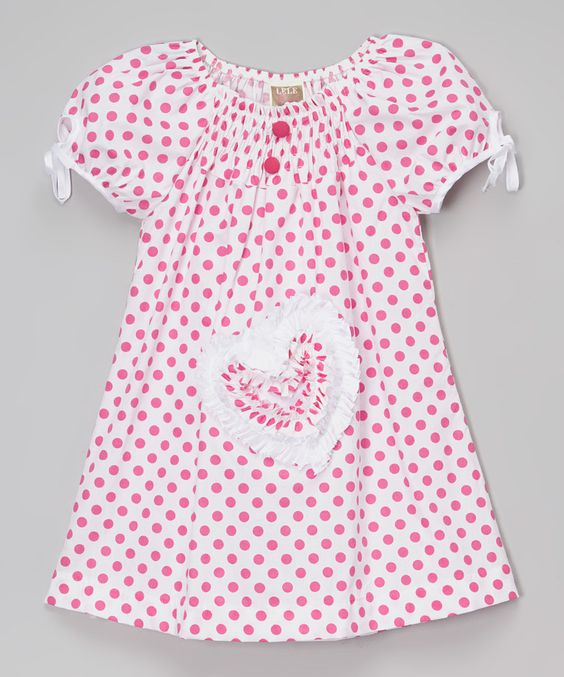 Look at this White & Pink Polka Dot Heart Puff-Sleeve Dress - Kids & Tween on #zulily today!