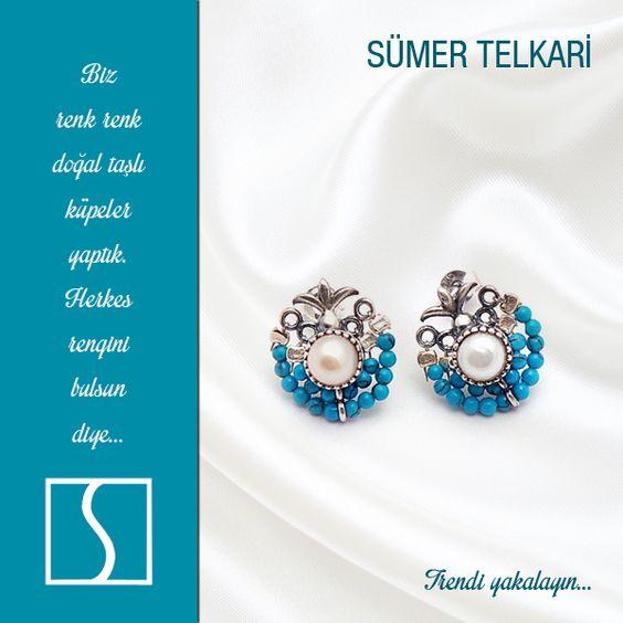 Biz renk renk doğal taşlı küpeler yaptık. Herkes rengini bulsun diye... #earrings #silver #handmade #vintage #fashion #trendy #jewelry #design #gift http://www.sumertelkari.com/Kupe,LA_161-2.html#labels=161-2